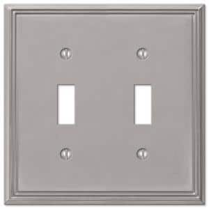 Rhodes 2 Gang Toggle Metal Wall Plate - Brushed Nickel