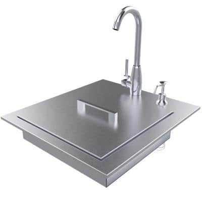 Designer 20.5 in. W x 22.25 in. D x 5 in. Stainless Steel Build-In Sink with Cover and Faucet ADA Compliant