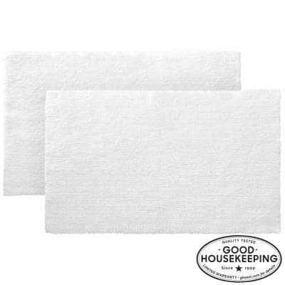 White 17 in. x 24 in. Cotton Reversible Bath Rug (Set of 2)