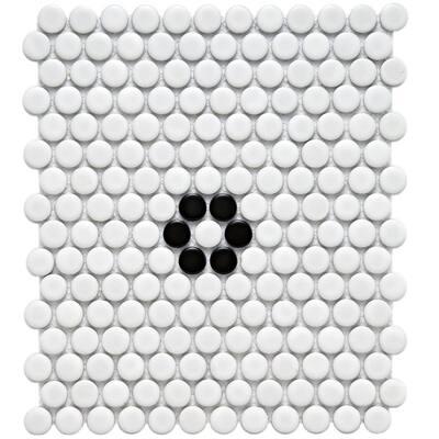 Metro Penny Matte White Black Flower 9-3/4 in. x 11-1/2 in. Porcelain Mosaic (7.97 sq. ft./Case)
