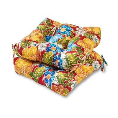 Aloha Floral Red Square Tufted Outdoor Seat Cushion (2-Set)