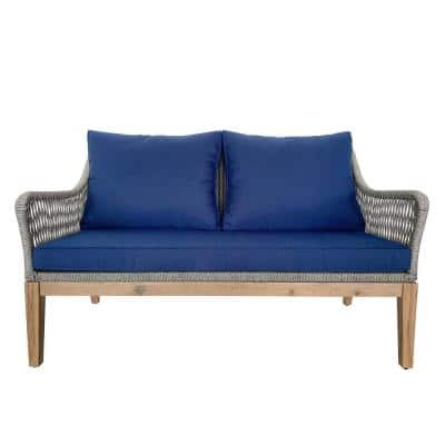 Outdoor Wicker Rope, Acacia Wood and Aluminum Loveseat with Navy Blue Cushions