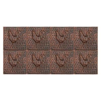 Hammered Copper Oil Rubbed Bronze 4 in. x 4 in. Decorative Wall Tile with Rooster Design (8-Pack)