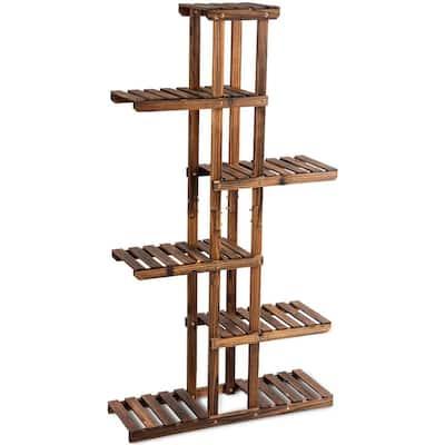 6-Tier Brown Wood Outdoor Plant Stand Display Shelf Storage Rack