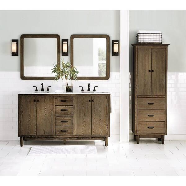 Home Decorators Collection 28 In W X, Weathered Oak Bathroom Vanity Mirror