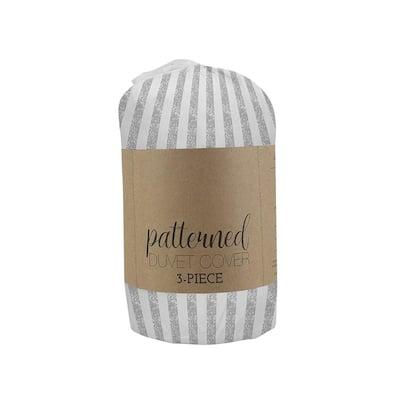 Puffed Rugged Stripes 3-Piece Microfiber Duvet Cover Set