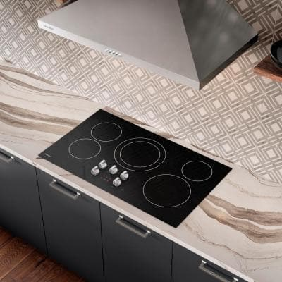 36 in. Radiant Electric Cooktop in Black with 5-Elements