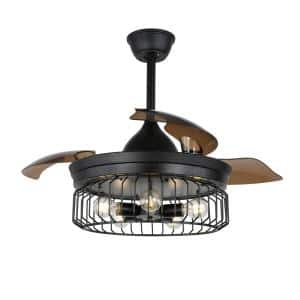 42 in. Black Retractable Ceiling Fan with Light and Remote Control