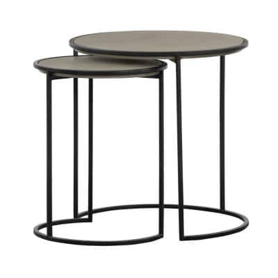 Rina Concrete and Black Metal 2-Piece Nesting End Table Set