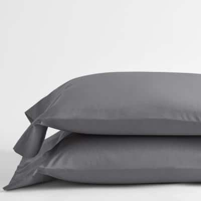 Pewter Solid 400-Thread Count Supima Cotton Percale King Pillowcase (Set of 2)
