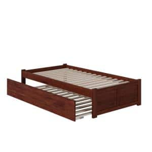 Concord Twin Platform Bed with Flat Panel Foot Board and Twin-Size Urban Trundle Bed in Walnut