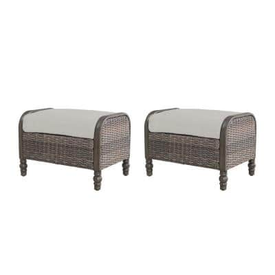Windsor Brown Wicker Outdoor Patio Ottoman with CushionGuard Biscuit Tan Cushions (2-Pack)