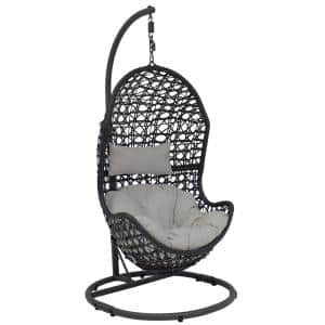 Cordelia Wicker Outdoor Hanging Egg Patio Lounge Chair with Stand and Gray Cushions