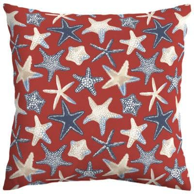 Chili Starfish Square Outdoor Throw Pillow (2-Pack)