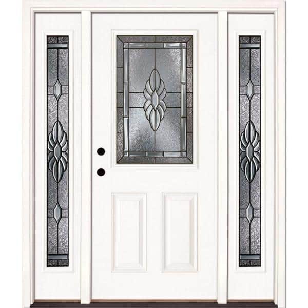 Reviews For Feather River Doors 63 5 In X 81 625 In Sapphire Patina 1 2 Lite Unfinished Smooth Right Hand Fiberglass Prehung Front Door With Sidelites 8h3191 3a4 The Home Depot