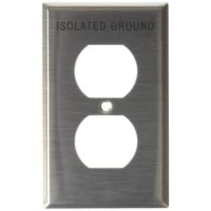 1-Gang 1 Duplex Receptacle, Engraved Isolated Ground, Standard Size Wall Plate - Stainless Steel