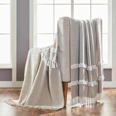 2-Pack Dion Feather Grey 100% Cotton 50 in. x 60 in. Throw Blanket