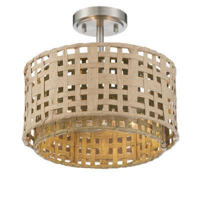 2-Light Brushed Nickel Semi-Flush Mount with Weathered Grey and Natural Rattan Shade
