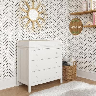 Kace 37.5 in. H 3-Drawer White Dresser with Topper for Nursery