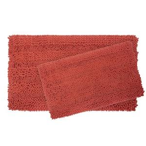 Astor Striped Chenille 17 in. x 24 in./ 20 in. x 34 in. 2-Piece Plush Bath Mat Set in Coral