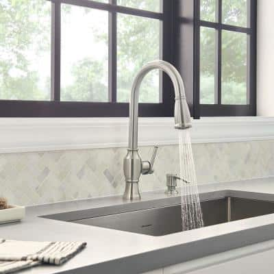 Marchand Single Handle Pull-Down Sprayer Kitchen Faucet in Stainless Steel