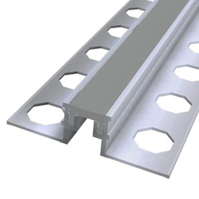 Novojunta Metallic Flex Grey 1/2 in. x 98-1/2 in. Aluminum-Silicone Tile Edging Trim