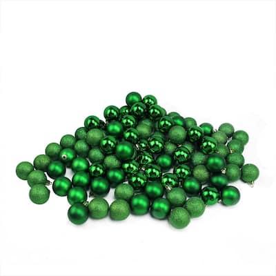 Xmas Green Shatterproof 4-Finish Christmas Ball Ornaments (96-Count)