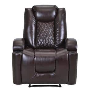 Brown PU Leather Power Motion Recliner with USB Charge Port and Cup Holder PU Lounge chair for Living Room