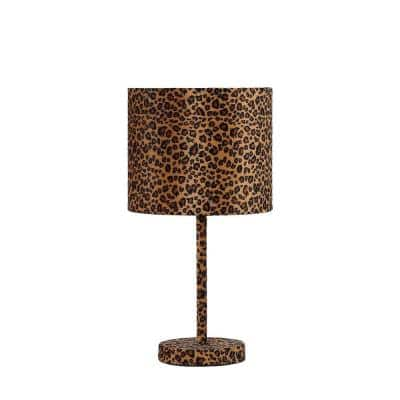 19.25 in. Leopard Print Metal Faux Suede Table Lamp