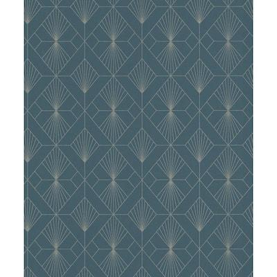 Henri Dark Green Geometric Dark Green Wallpaper Sample