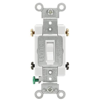 15 Amp Single-Pole Toggle Framed 4-Way AC Switch, White
