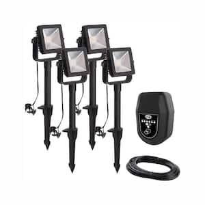 Low Voltage Black Outdoor Integrated LED Landscape Flood Light (4-Pack)