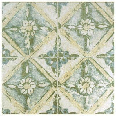 Klinker Retro Blanco Dafodil Encaustic 12-3/4 in. x 12-3/4 in. Ceramic Floor and Wall Quarry Tile