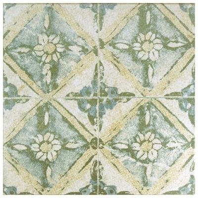Klinker Retro Blanco Dafodil Encaustic 12-3/4 in. x 12-3/4 in. Ceramic Floor and Wall Quarry Tile (1.13 sq. ft./Each)