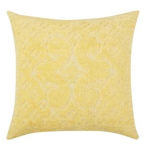 Ashton Collection in Medallion Design Yellow Euro 100% Cotton Tufted Chenille Sham