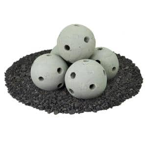6 in. Set of 5 Hollow Ceramic Fire Balls in Pewter Gray