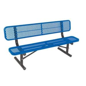 6 ft. Diamond Blue Portable Commercial Park Bench with Back Surface Mount