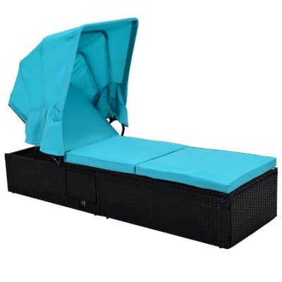 Black Wicker Adjustable Single Chaise Lounge with Blue Cushion and Cup Table