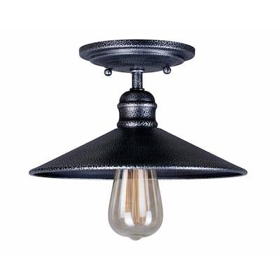1 -Light Industrial Gray Semi Flush Mount