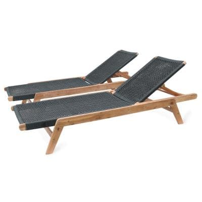 Athens Adjustable Wood Outdoor Chaise Lounge (2-Pack)