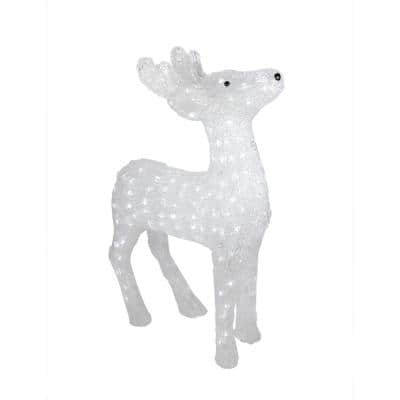 24 in. Pre-Lit Commercial Grade Acrylic Reindeer Christmas Display Decoration - Polar White LED Lights