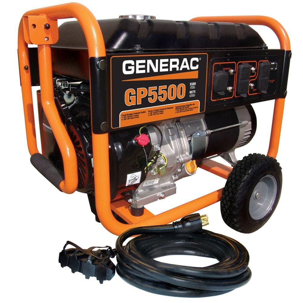 Generac GP 5,500-Watt Gasoline Powered Portable Generator with 20 ft. 30  Amp Cord-6110 - The Home Depot   Generac 5000 Watt Generator Wiring Diagram      The Home Depot