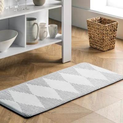 Diamond Stripes Anti Fatigue Kitchen or Laundry Room Light Grey 20 in. x 42 in. Indoor Comfort Mat