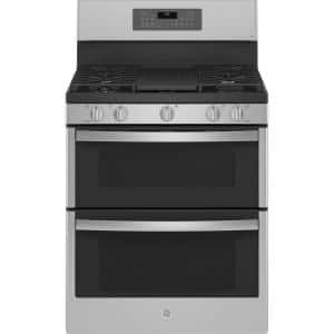 Profile 30 in. 6.8 cu. ft. Double Oven Gas Range with Self-Cleaning Convection Oven in Stainless Steel