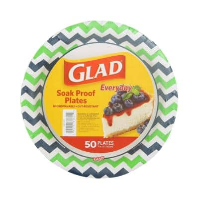 7 in. Round Paper Plates Chevrons( 50-Count)