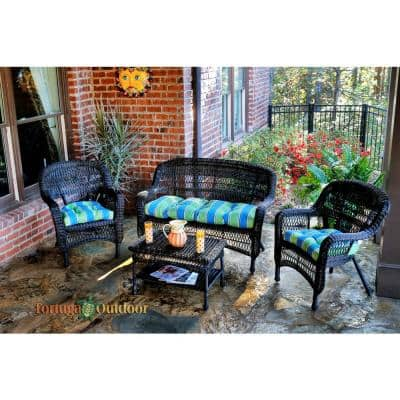 Portside Dark Roast 4-Piece Wicker Patio Seating Set with Haliwell Caribbean Cushions