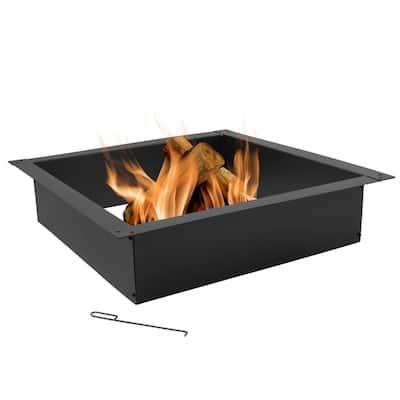 Heavy-Duty 36 in. x 10 in. Square Steel Wood Fire Pit Insert in Black