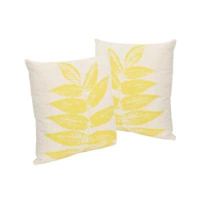 Pinnate Leaves Beige and Yellow Square Outdoor Throw Pillows (Set of 2)