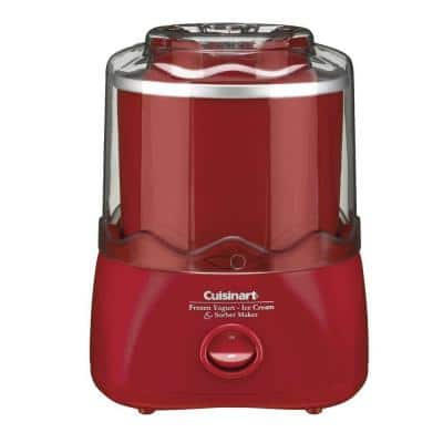 COPY 0 1.5 Qt. Red Frozen Yogurt and Sorbet Maker with Locking Lid