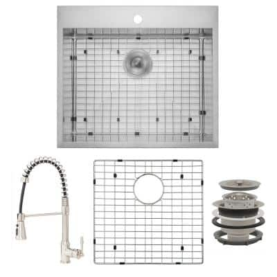 Handmade All-in-One Drop-in Stainless Steel 25 in. x 22 in. with Faucet and Sink Grid 1-hole Single Bowl Kitchen Sink
